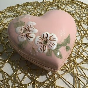 Pink Floral Heart Ceramic Jewellery Trinket Dish